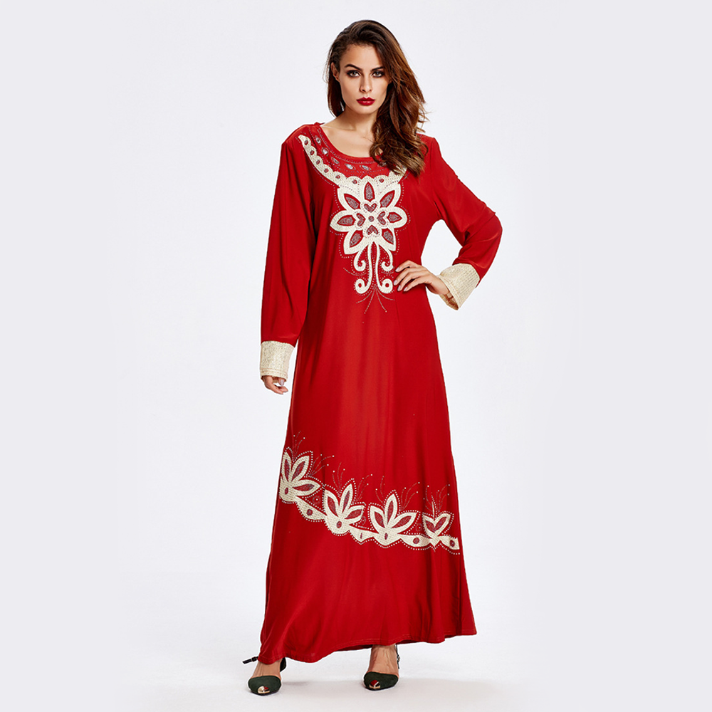 Zakiyyah 6502 Best-Selling Pakistan Abaya for Muslim Women Red Embroidered Dress Wholesale