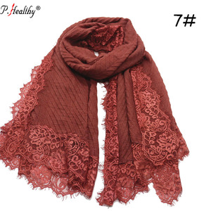New Fashion Crinkle Viscose Cotton Large Size Lace Scarf Muslim women Shawl Hijab Scarf