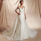 RSW1478 Half Sleeves Shine Sequin Two In One Removable Train Skirt Mermaid Detachable Wedding Dress