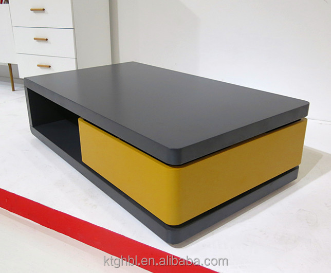Latest Design Living Room Furniture Bending Glass Magazine Rack Coffee Table