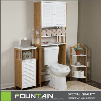 Freestanding Over Toilet Space Saver Storage Cabinet Modern Bamboo Bathroom  Cabinet