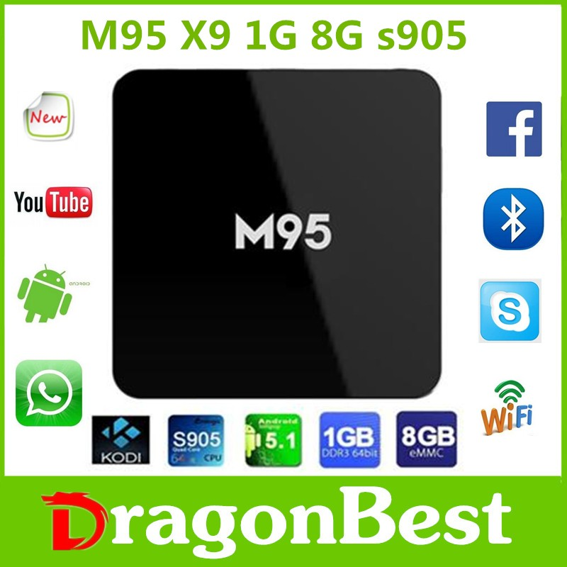 with full 1080p video M95 X9 1G 8G Quad core android 5.1 tv box