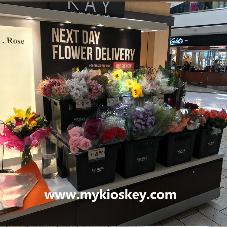 Factory Sale Mall Flower Kiosk Design Flower Display Shelf