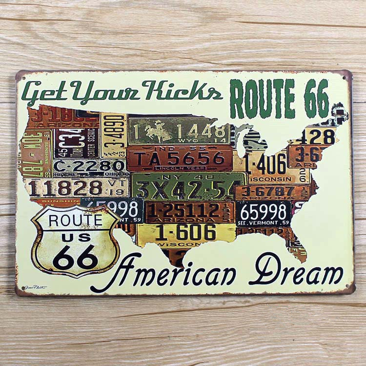 retro vintage plaque route 66 map usa metal tin sign iron painting wall art decor cafe bar home. Black Bedroom Furniture Sets. Home Design Ideas