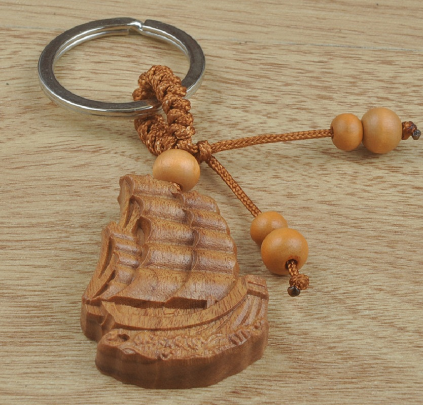 Wood Sail carved Car key keychain Custom Logo woodwork cheap promotion gift