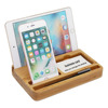 Multi function desktop organizer wooden bamboo cell phone stand holder for namecard