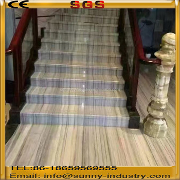Indoor Step Stone Vein Marble Tile Staircase Wooden Marble Stairs