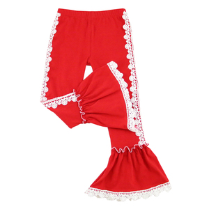 New arrival 2018 baby girl bell bottom fashion pants children girl tights hot sale red kids leg trousers