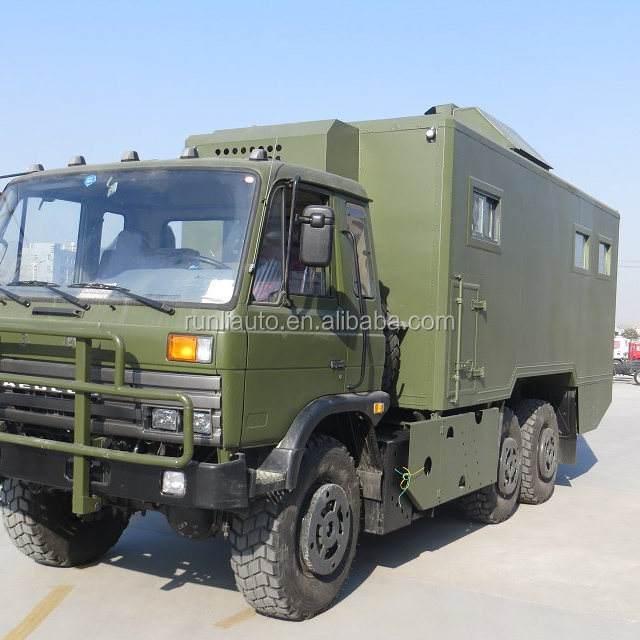 Export to Mongolia Dongfeng 6x6 all driven food van truck/ mobile food truck for sale