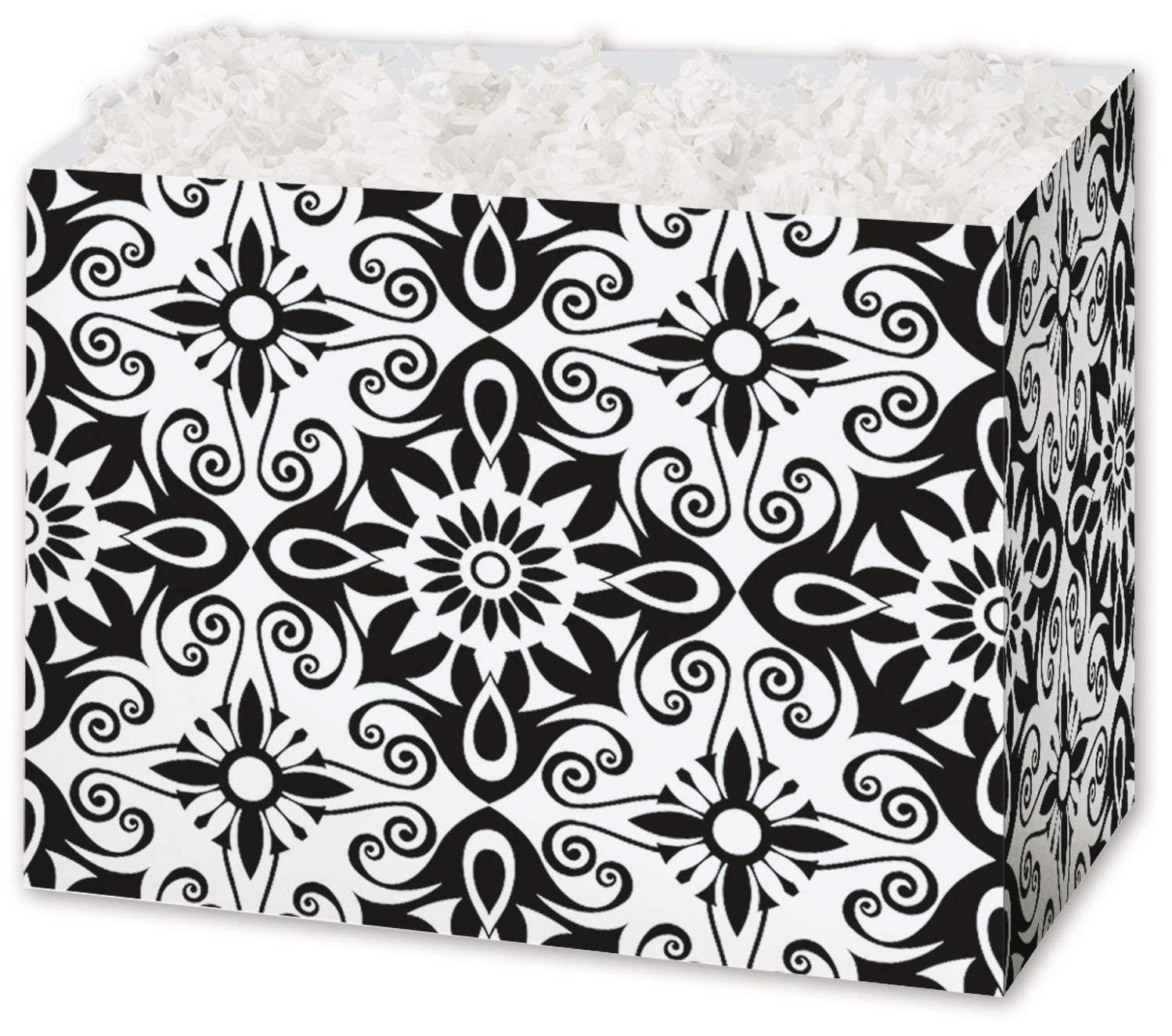 """Patterned Specialty & Event Boxes - Black & White Medallions Gift Basket Boxes, 6 3/4 x 4 x 5"""" (6 Boxes) - BOWS-4917BWMD"""