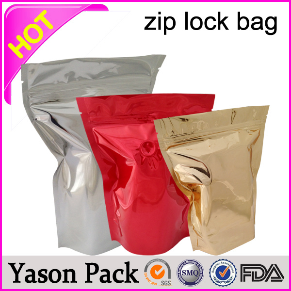 Yason resealable zip aluminum foil tea heat seal packing bags ziplock reclosable packaging bag clear front black back glossy ri