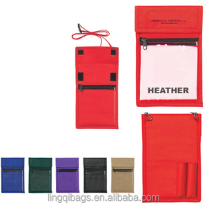 New product polyester zipper two sided badge holder office card holder