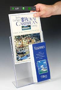 Marketing Holders 6 Units of 8.5 x 11 Acrylic Sign Holder with Pocket for 4 x 9 Brochures, Slant Back - Clear 19090