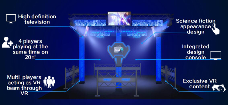 Multiplayer Virtual Reality 9D Simulator Shooting Game VR Walker 4 Pemain Arcade Mesin Vr 9D VR Room Game Fighting
