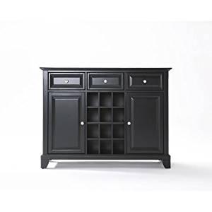 Crosley Furniture Newport Buffet Server/Sideboard Cabinet with Wine Storage, Black