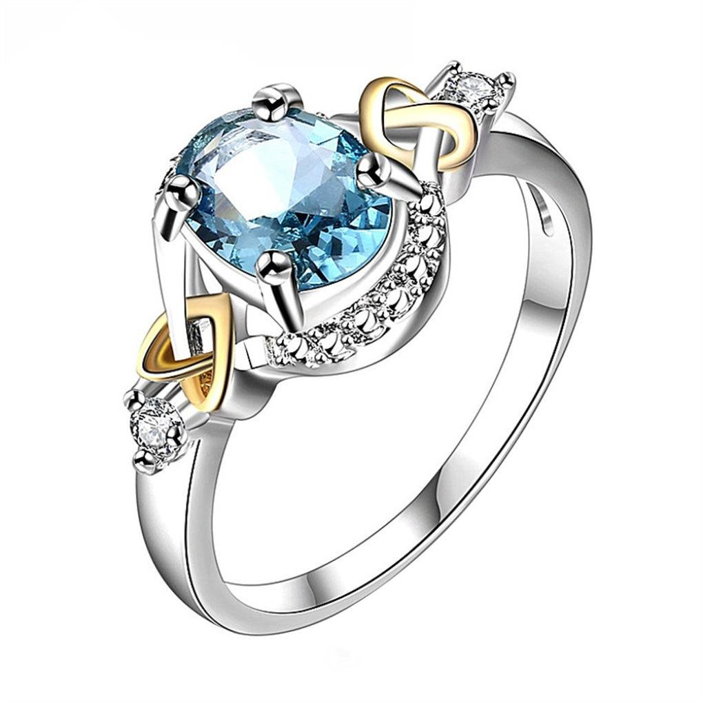AutumnFall Women Fashion Wedding Engagement Ring Silver Plated Alloy Crystal Jewelry Rings (Size 8, Blue)