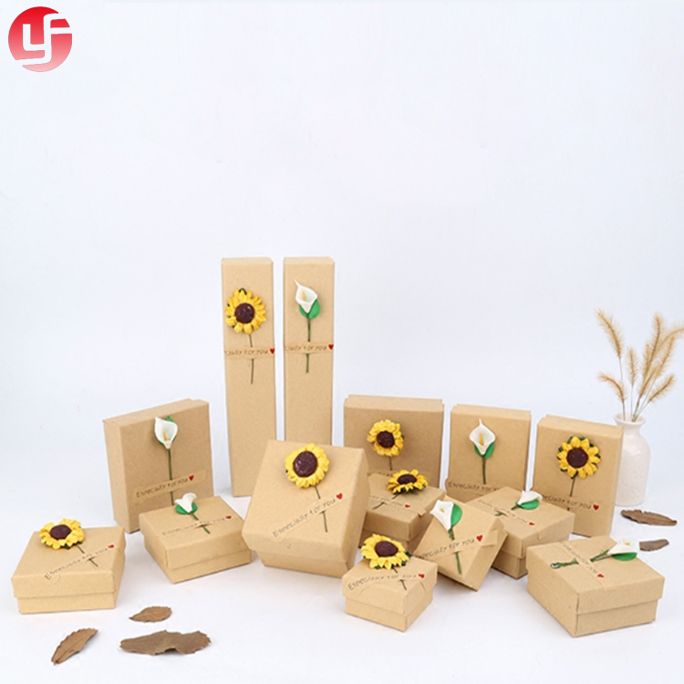 Low MOQ kraft paper packaging earing necklace watch paper jewelry <strong>box</strong>