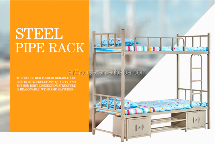 Japanese Antique Bedroom Furniture Heavy Duty Steel Metal Double Deck Loft Bunk Bed Frame