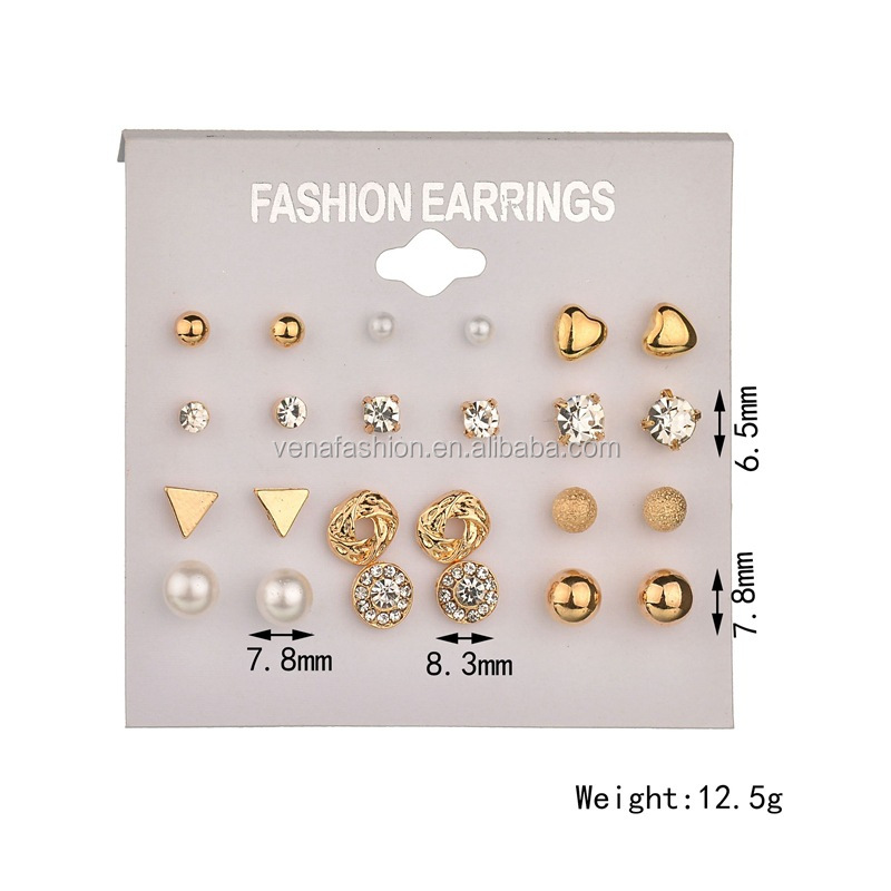 pearl small new trendy gold stud earring set cheap