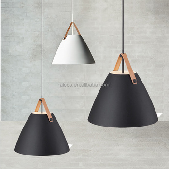 Aicco Metal Shade With Leather Designer Decorative Hanging Home Modern Indoor Pendant Lighting Lamp 12291