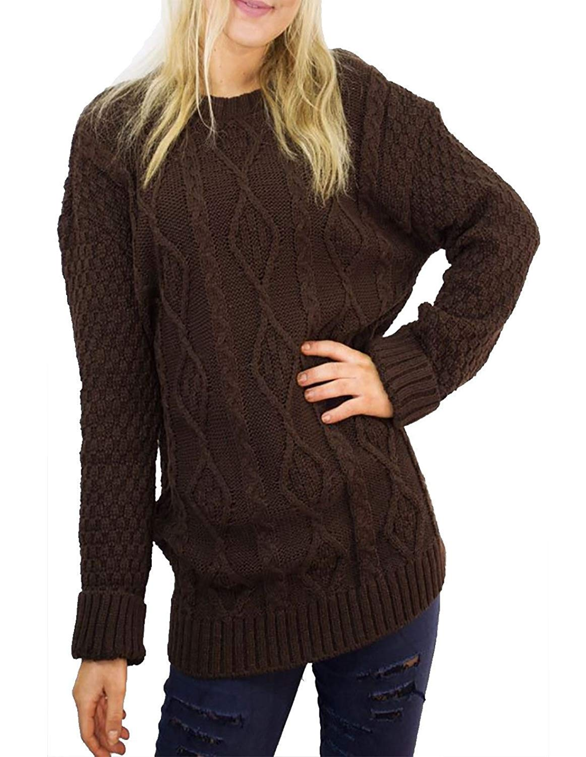 Get Quotations · Womens Ladies Chunky Cable Knitted Long Sleeve Pullover  Jumper Sweater Top Small X-Large 184cdbdc2