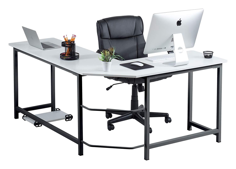 Fineboard Stylish L-Shaped Office Computer Corner Desk Elegant & Modern Design, White/Black