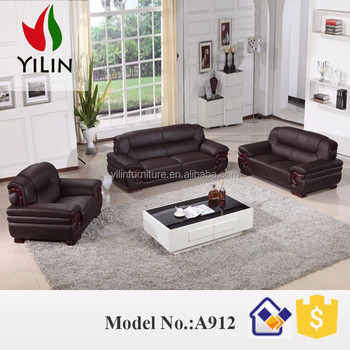 Simple But Elegant Design Genuine Leather Sofa Furniture Living Room Set A912