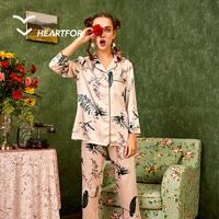 Top Quality Wide Leg Pants Home Clothes Sleepwear Satin Women Pajama Set Night Suit Ladies Honeymoon Nighty
