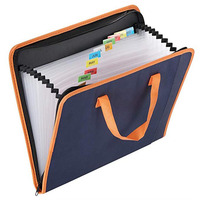 Portable Fabric File Bag with Handle PP Inside Pages with Zipper Closure A4 Size File Folder
