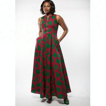 Oem Al Por Mayor Del Ankara Maxi Largo Vestido Estampado Verde Tradicional Africana Vestidos Diseños Buy Vestidos Africanos Tradicionales