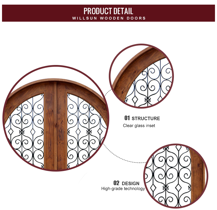 Quality Double Design Wood Doors Outside House Glass Wrought Iron