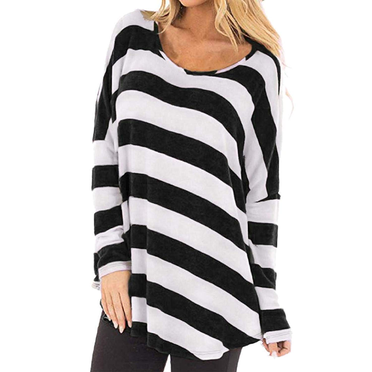 4762a83f033 Get Quotations · UONQD Women s Long Sleeve Striped Crop Top Tee T Shirts  Blouse