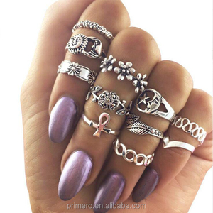 11pcs/Set Vintage Beach Ring Punk Hollow Moon Sun Flower Leaf Rings Set Carved Boho Midi Finger Knuckle Rings