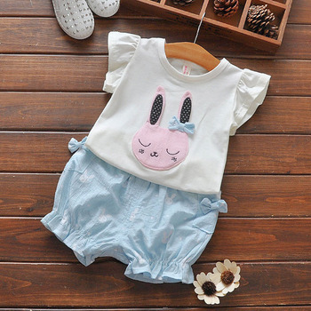 baby girls rabbit clothing sets Appliqued T-shirt and printed shorts clothing kids sets