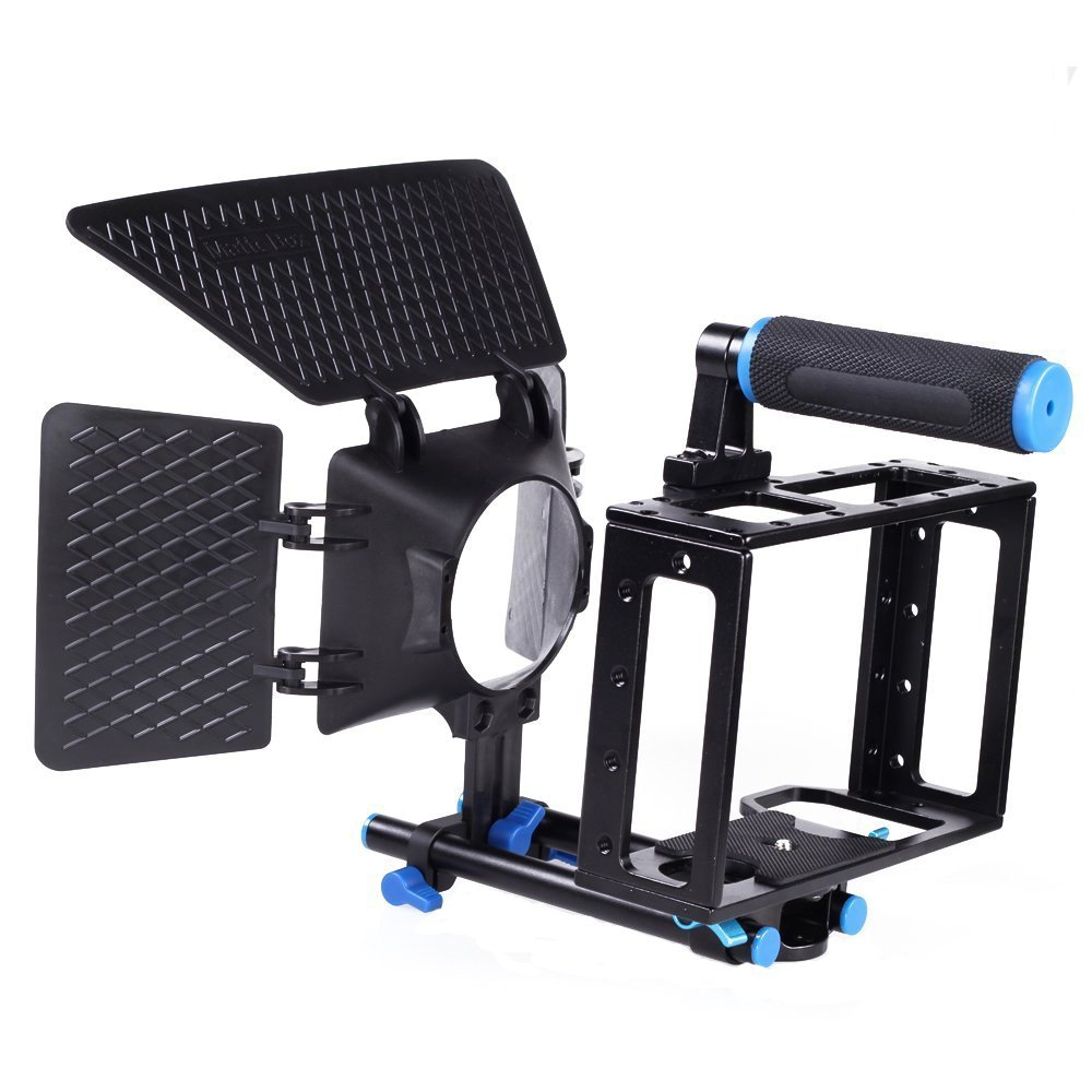 Fotga Dslr Film Movie Use Matte Box Sunshade+aluminum Cage Kit for Canon 5d Mark Ii 7d Dslr Camera W/15mm Rod Rig Top Handle