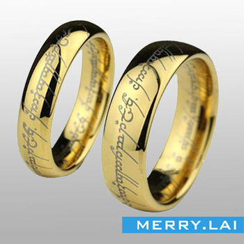 opk new fashion jewerly the lord of the rings golden titanium stainless steel wedding band - Lord Of The Rings Wedding Band