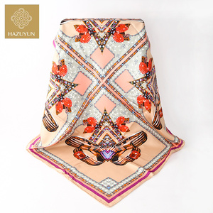 New Arrival Factory Wholesale Plain Stripe Ring Pattern Print Neck Muffler Ladies 14mm Hijab 90x90cm Twill Silk Square Scarf