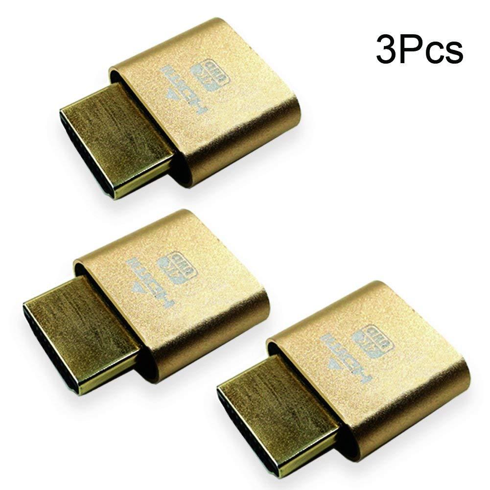 Virtual Display Adapter HDMI 2.0 DDC EDID Dummy Plug Display Emulator-3Pack