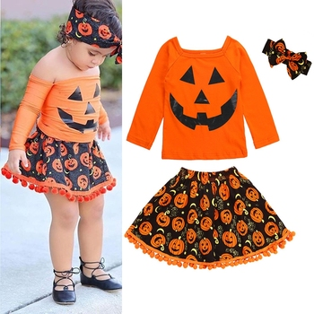 Halloween Outfits For Kids.3pcs Kids Girl Cute Comfortable Halloween Outfits Sets Newborn Baby Girl Pumpkin Shirt Top Tulle Skirts Headband Clothing Set Buy Autumn Winter Girl