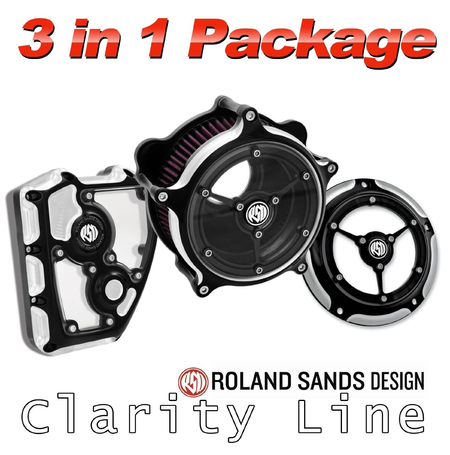 Roland Sands Design Clarity Air Cleaner with Derby and Cam Cover Package - Contrast Cut For 1999 to Present Harley Davidson Twin Cam