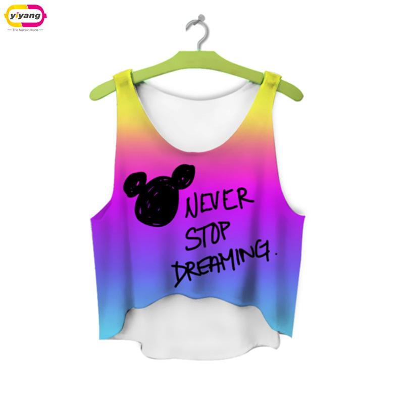 multicolor T Shirts 3D Print women tank tops camis printed sleeveless vest girls summer short crop