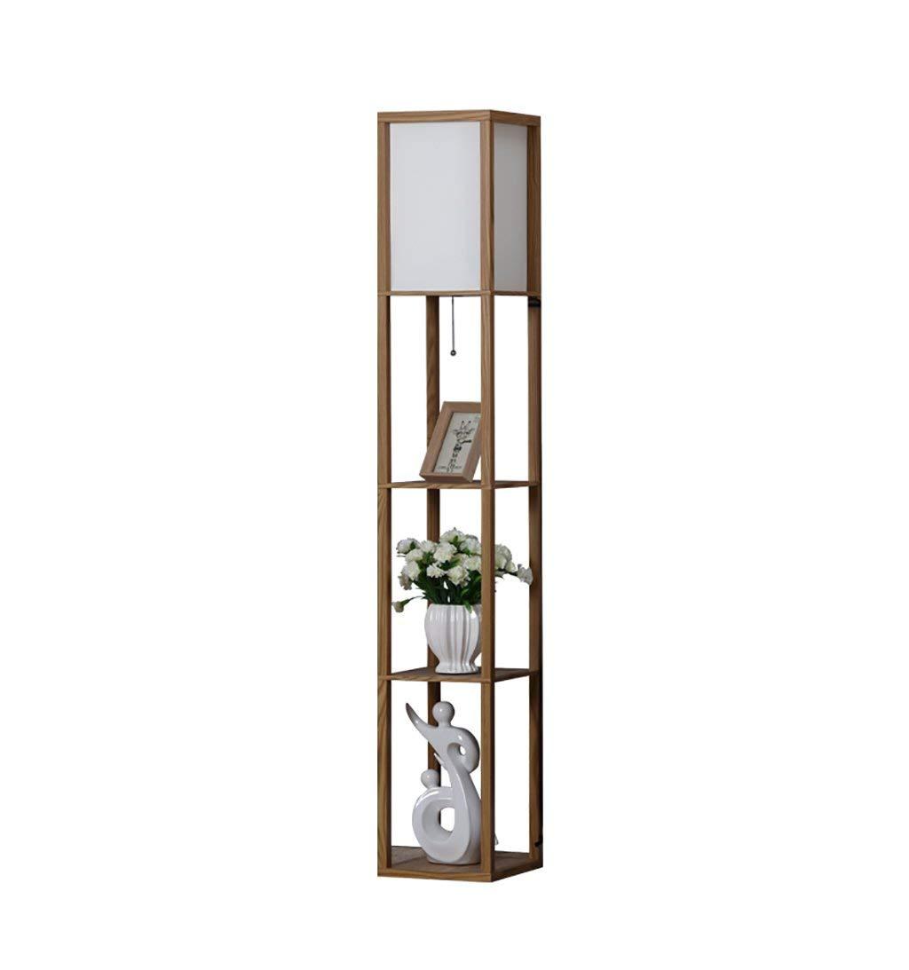 QYJZI Floor Lamps Floor lamp, living room, retro wood bedside shelf, floor lamp Creative bedroom, 3 floor wooden bed rack, floor lamp size: 2626159cm