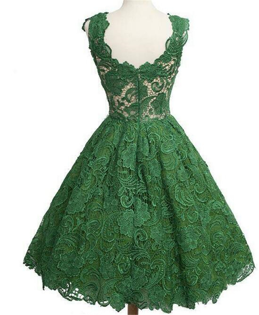 Vestidos Scoop Green Lace Dress Short Formal Women dress ...