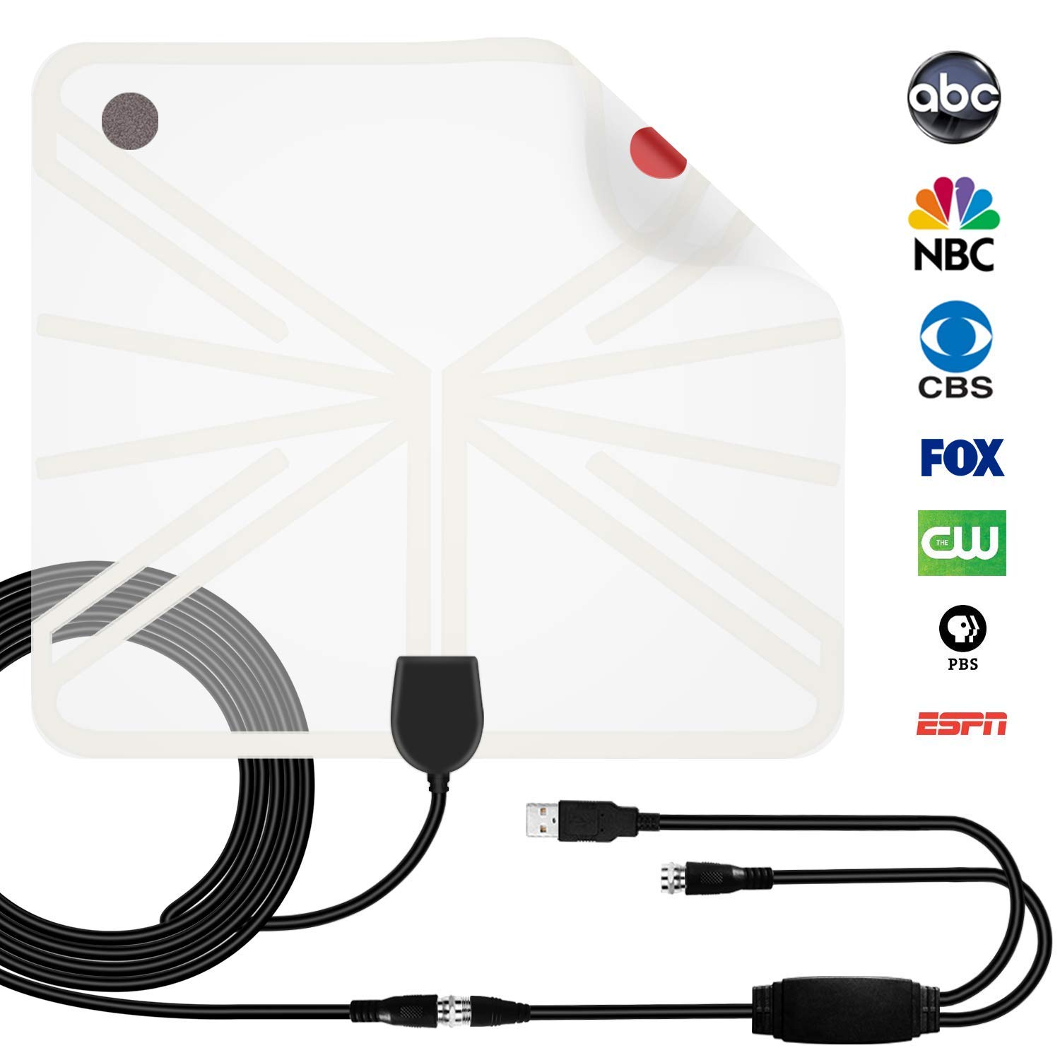 HEIRBLS TV Antenna, 50 Mile Range Amplified HDTV Antenna with Detachable Amplifier Signal Booster and 10FT Coaxial Cable - Transparent