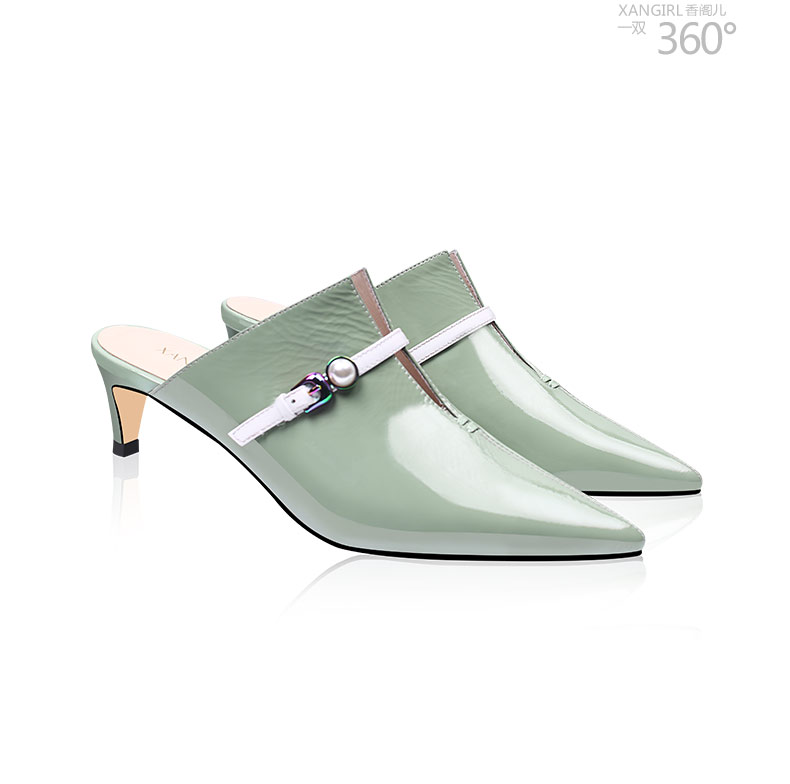 Fashion heel shoes handmade mules pointed slippers toe high women gxpIg4qr