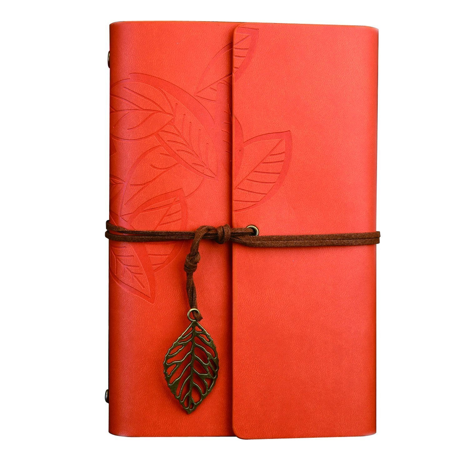 Ya Jin Vintage Leather Journal Notebook, Classic Embossed Loose Leaf Diary with Blank Pages and Retro Pendants, 80125mm, Orange
