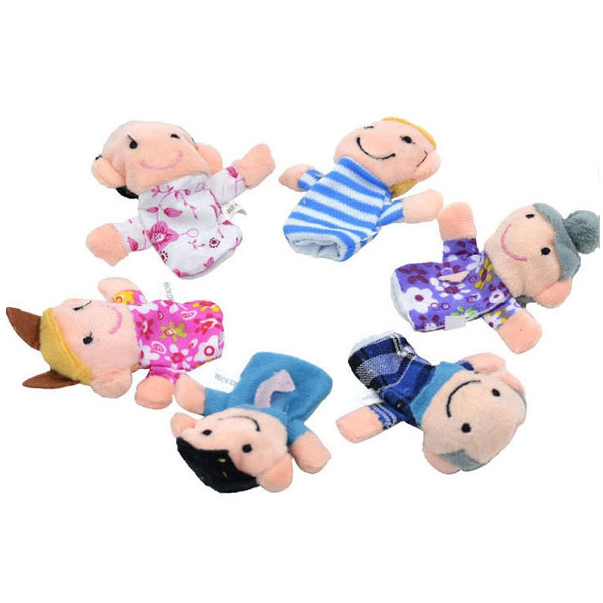 Genluna Mini Grandparents, Mom & Dad, Brother & Sister Family Style Finger Puppets for Children, Shows, Playtime, Schools - 6 Piece 7cm