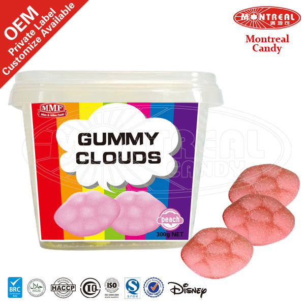 Fizzy Sour Fruit Soft Jelly Sweet Candy With Peach Flavor
