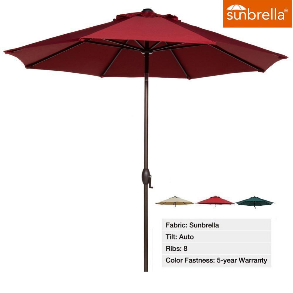 abba patio 9 ft fade resistant sunbrella fabric patio umbrella with auto tilt and crank alu 8. Black Bedroom Furniture Sets. Home Design Ideas