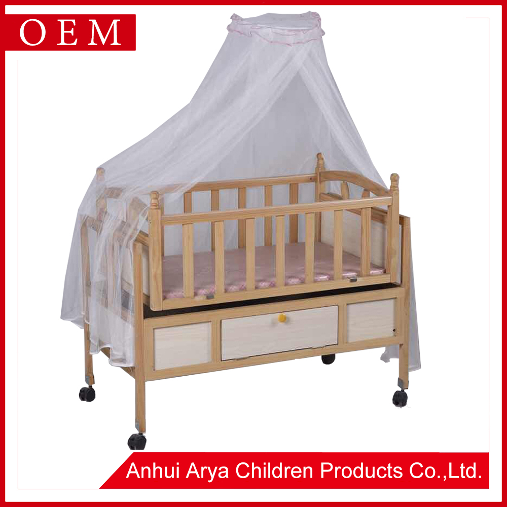 High quality cuna Royal golden hand carving 3 gears adjusted standard teak wooden craft baby cot size designs wooden furniture